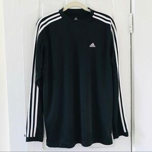 Adidas 3 Stripe L/S Tee Shirt Top Medium Black